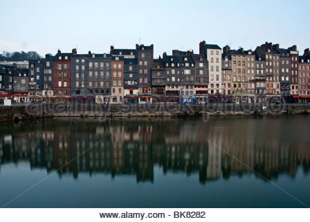 Tall houses at dawn on Vieux Bassin, Honfleur, Normandy, France - Stock Photo