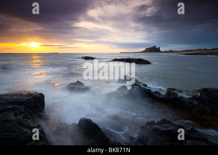 Once home to the kings of ancient Northumbria, this is Bamburgh castle. - Stock Photo