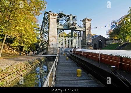 Henrichenburg boat lift, Schleusenpark, Waltrop Lock Park, Westphalian Industrial Museum, Route of Industrial Heritage, - Stock Photo