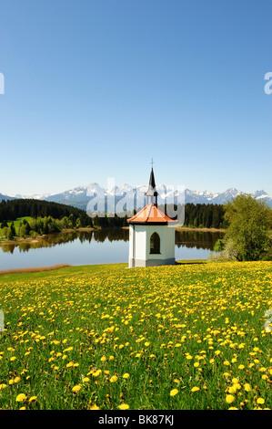 Chapel at Lake Hegratsrieder near Buching, East Allgaeu, Allgaeu, Bavaria, Germany, Europe - Stock Photo