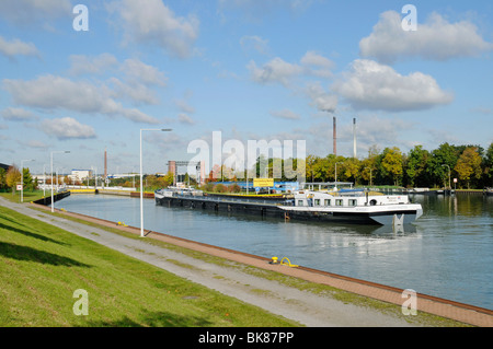 Cargo ship, Henrichenburg boat lift, Schleusenpark, Waltrop Lock Park, Westphalian Industrial Museum, Route of Industrial - Stock Photo