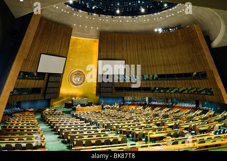 NEW YORK, NY - Interior of the chamber of the UN General Assembly at United Nations headquarters in New York - Stock Photo