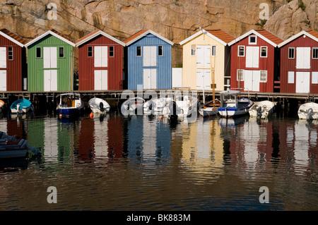 Timber houses in Smoegen on the west coast of Sweden, Scandinavia, Europe - Stock Photo