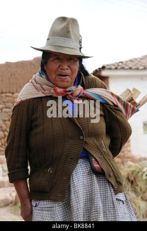 Elderly woman, Chinchero, Inca settlement, Quechua settlement, Peru, South America, Latin America - Stock Photo