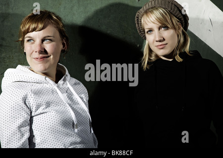 Portrait of two young women, cool youths - Stock Photo
