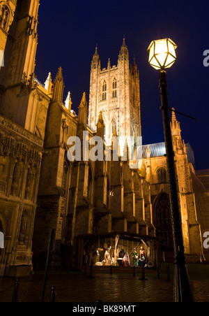 Christmas stall with nativity scene at Canterbury Cathedral in Kent, UK. - Stock Photo