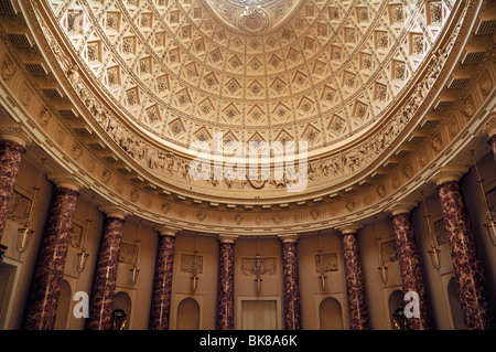 Detail of the ornamental cupola in the reception hall of Stowe School, private school since 1923, architecture from - Stock Photo