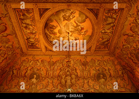 Ceiling painting in the entrance of Stowe School, private school since 1923, architecture from 1770, Classicism, - Stock Photo