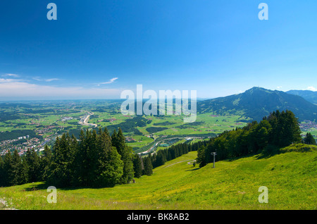 View at midday from Gruenten Mountain, Allgaeu, Bavaria, Germany, Europe - Stock Photo
