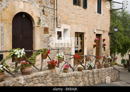 Street in Valldemossa, Tramuntana Mountains, Mediterranean Sea, Mallorca, Majorca, Balearic Islands, Spain, Europe - Stock Photo