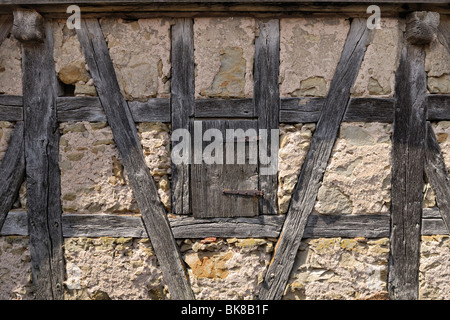 Old half-timbered house, detail, Rothenburg ob der Tauber, Bavaria, Germany, Europe - Stock Photo