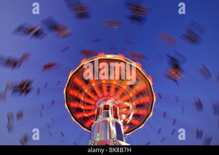 Night scene, fisheye shot, Chair-O-Planes or Swing Carousel, Cannstatt Festival, Stuttgart Beer Festival, Stuttgart, - Stock Photo