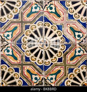 Azulejos tiles front façade building Lisbon Portugal Europe - Stock Photo