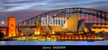 Panorama of the Sydney Opera House, Sydney Harbor Bridge, night, Sydney, New South Wales, Australia - Stock Photo
