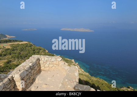 View from the castle ruins of Kámiros, Rhodes, Greece, Europe - Stock Photo