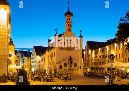 Town Hall square in Kempten, Allgaeu, Bavaria, Germany, Europe - Stock Photo