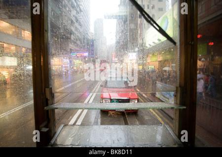 Historic Tramway, Causeway Bay, Hong Kong Island, Hongkong, China, Asia - Stock Photo