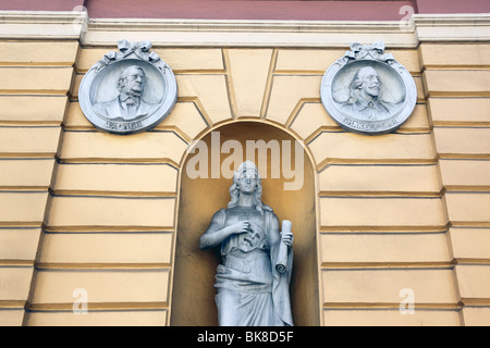 Busts of Wagner and William Shakespeare and statue on facade of National Theatre building, Casco Viejo , Panama - Stock Photo
