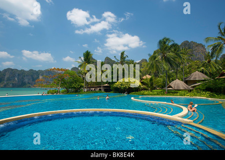 Swimming pool of the Rayavadee Resort, Krabi, Thailand, Asia - Stock Photo