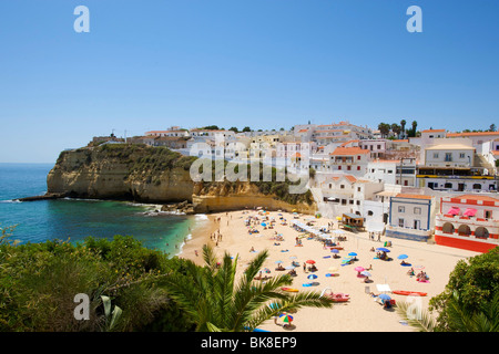 Beach of Carvoeiro, Algarve, Portugal, Europe - Stock Photo