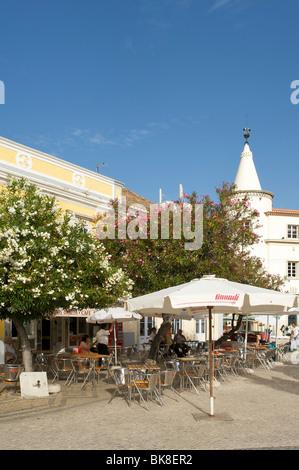 Street cafe in Faro, Algarve, Portugal, Europe - Stock Photo