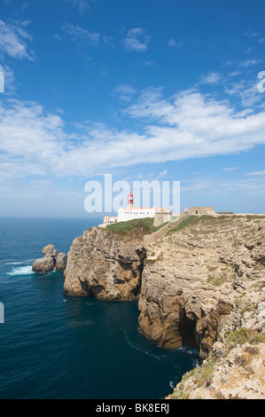 Lighthouse at Cabo de Sao Vicente, Algarve, Portugal, Europe - Stock Photo