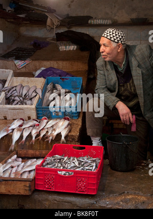 Fish monger at the souk in Fes - Stock Photo