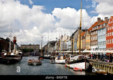 Nyhavn canal in Copenhagen, Denmark, Europe - Stock Photo