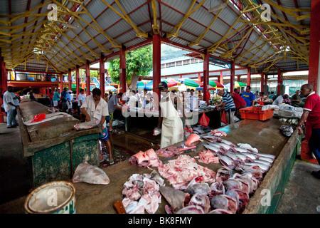 Lively fish market Sir Selwyn Clarke Market on Market Street, Victoria, Mahe Island, Seychelles, Indian Ocean, Africa - Stock Photo