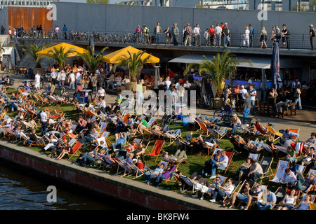 Beach bar opposite the central train station, Berlin, Germany, Europe - Stock Photo