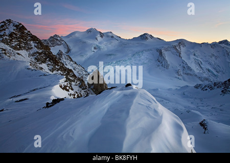 Dusk on Mt Wildspitze, Oetztal Alps, North Tyrol, Austria, Europe - Stock Photo