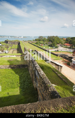 View of Galle Harbour from walls of Galle Fort, Galle, Sri Lanka - Stock Photo