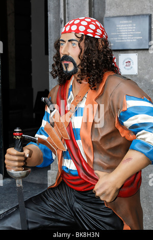 Life-size figure of a pirate, entrance to the West Frisian Museum, Hoorn, Province of North Holland, Netherlands, - Stock Photo