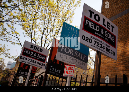 For sale and to let signs outside flats in London, UK - Stock Photo