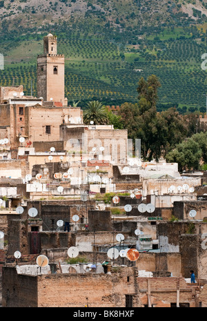View of the medina in Fes with satellite dishes - Stock Photo