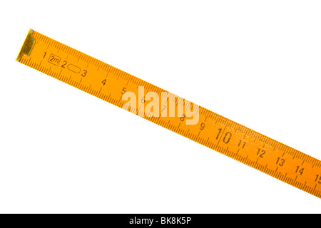 Wooden measuring meter isolated on white background - Stock Photo