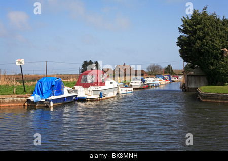 Boats moored in West Somerton Staithe, Norfolk, England, United Kingdom. - Stock Photo