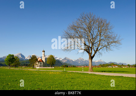 Pilgrimage Church of St. Coloman near Fuessen, Thannheim Mountains, spring, East Allgaeu, Allgaeu, Bavaria, Germany, - Stock Photo