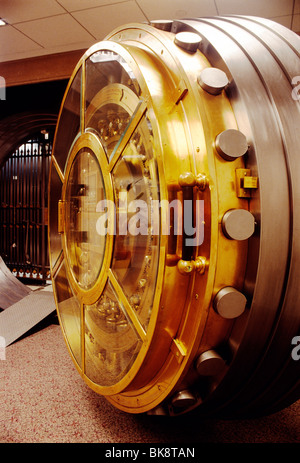 Brass and stainless steel bank vault door - Stock Photo