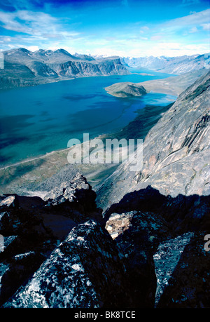 High view of Pangnirtung Fiord towards Auyuittuq National Park from Mt. Duvall, Pangnirtung, Baffin Island, Nunavut, - Stock Photo