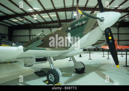 Supermarine Spitfire Mk VIII WWII fighter plane at Cavanaugh Flight Museum, Addison Airport, Dallas, Texas, USA - Stock Photo