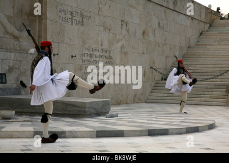 Evzones guard the Tomb of the Unknown Soldier at Syndagma square in Athens, Greece.