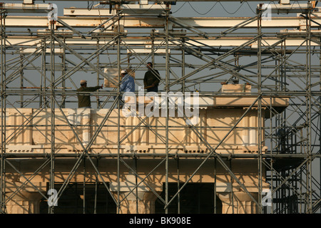 Restoration works at the Propylaea in the Acropolis of Athens in Greece. - Stock Photo