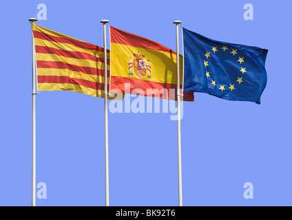 Flags of Catalonia, Spain and Europe - Stock Photo