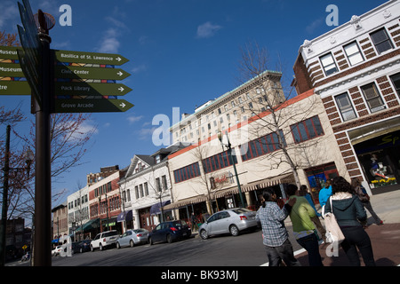 College Street, Pritchard Park in Asheville, North Carolina - Stock Photo