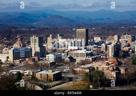 Asheville, North Carolina, nestled in the Blue Ridge Mountains - Stock Photo
