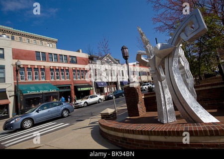 Aluminum sculpture in Pritchard Park, College Street, Asheville, North Carolina - Stock Photo