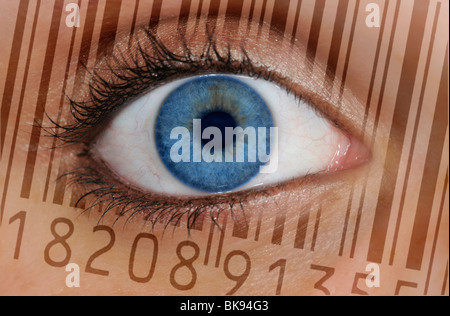 Close-up of an eye with the EAN barcode, European Article Number, on the iris, symbolic picture for transparent - Stock Photo