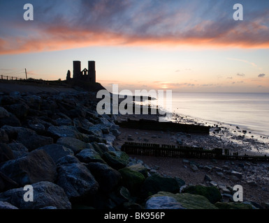 Reculver towers at Sunset in Kent, UK. - Stock Photo