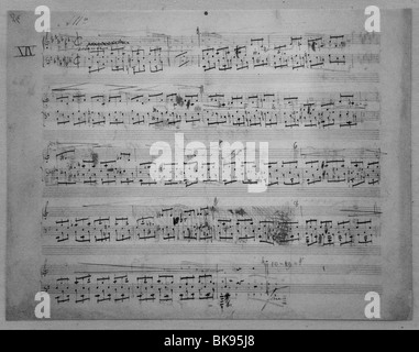 Original score of Prelude Number 14 written by Frederic Chopin, Valdemossa, Spain - Stock Photo